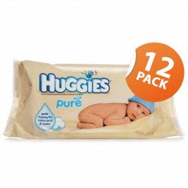Huggies Pure Baby Wipes 12 Pack of 64 Wipes